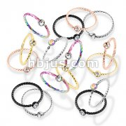 120 Pcs Crystal Set Twisted Rope PVD over 316L Surgical Steel Bendable Hoop Nose Ring Bulk Pack (20 Pcs x 6 Colors)