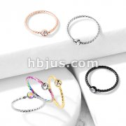 Crystal Set Twisted Rope 316L Surgical Steel Bendable Hoop Nose Ring