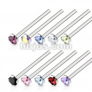100 Pcs 316L Surgical Steel Nose Fishtail with 2mm Prong Set CZ Bulk Pack (10 pcs x 10 Colors)