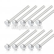 100 Pcs 316L Surgical Steel Nose Fishtail with 2mm Prong Set ClearCZ Bulk Pack