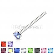 Round 2mm Prong Set CZ Top 316L Surgical Steel Fish Tail Nose Ring