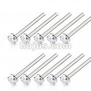 100 Pcs 316L Surgical Steel Nose 12mmFishtail with 2mm Prong Set Clear CZ Bulk Pack