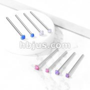 Opal Prong Set 316L Surgical Steel Fishtail Nose Rings