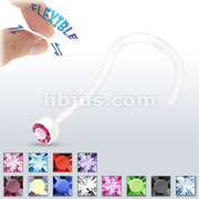 Clear Nose Screw with Assorted Bezel Set Gems
