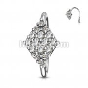CZ Paved Diamond Shaped Benable Nose, Cartilage Hoop Rings