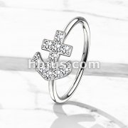 CZ Paved Anchor Bendable Nose, Cartilage Hoop Rings