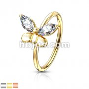 CZ Butterfly Bendable Nose, Cartilage Hoop Rings