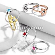 Clear Jeweled Flower 316L Surgical Steel Nose Hoop Rings