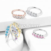 Five Round CZ  Bezel Set Top 316L Surgical Steel Bendable Nose Hoop Rings