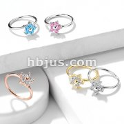 CZ Flower Top Bendable Nose Hoop Rings