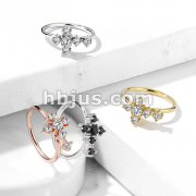 CZ Cross Bendable Nose, Cartilage Hoop Rings