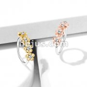 Four CZ Paved Flowers 316L surgical steel Bendable Nose, Cartilage Hoop Rings