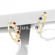Lined CZ Set Squares and Flowers Bendable Nose, Cartilage Hoop Rings