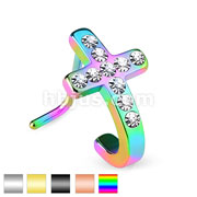Pave Crystals Cross 316L Surgical Steel