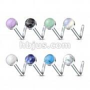 160 pcs Semi Precious Stone Set 316L Surgical Steel L Bend Nose Stud Rings Bulk Packs (20 pcs x 8 Colors)