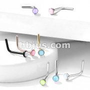 Illuminating Stone Set 316L Surgical Steel L Bend Nose Stud Rings