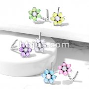 Illuminating Stone Set Flower Top All 316L Surgical Steel L Bend Nose Stud Rings