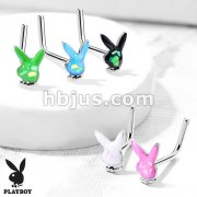Playboy Bunny with Opal Glitter Filled Top 316L Surgical Steel Nose L Ben Stud Rings