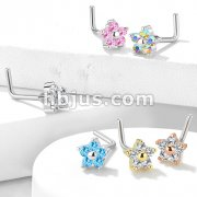 5 CZ Flower 316L Surgical Steel L Bend Nose Stud Rings