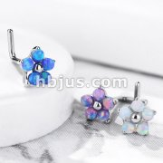 Flower with 5 Opal Petals 316L Surgical Steel L Bend Nose Stud Rings