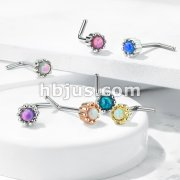 Opal Centered Round Top 316L Surgical Steel L Bend Nose Stud Rings