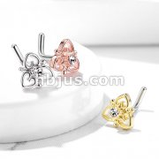CZ Center Heart Filigree Top 316L Surgical Steel L Bend Nose Stud Rings