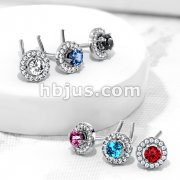 Double Tiered Round CZ Center Top 316L Surgical Steel L Bend Nose Stud Rings