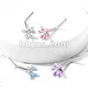 Enamel Flower Top 316L Surgical Steel L Bend Nose Stud Rings