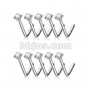 100 Pcs 3mm Clear CZ Prong Set 316L Surgical Steel L Bend Nose Stud Rings Bulk Pack