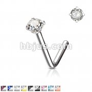 L Bend Prong Set CZ 316L Surgical Steel Nose Stud Rings