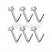 100 Pcs Clear Star CZ Prong Set 316L L Bend Nose Stud Ring Bulk Pack