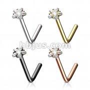 80 Pcs Star CZ Prong Set 316L Surgical Steel L Bend Nose Stud Rings Bulk Pack (20 pcs x 4 Colors)