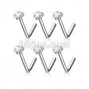 100 Pcs Clear Heart  CZ Prong Set 316L L Bend Nose Stud Ring Bulk Pack