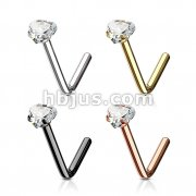 80 Pcs Heart CZ Prong Set 316L Surgical Steel L Bend Nose Stud Rings Bulk Pack (20 pcs x 4 Colors)