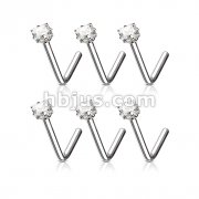 100 Pcs Clear Square CZ Prong Set 316L L Bend Nose Stud Ring Bulk Pack
