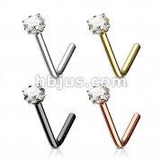 80 Pcs Square CZ Prong Set 316L Surgical Steel L Bend Nose Stud Rings Bulk Pack (20 pcs x 4 Colors)