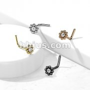 Beaded Ball Edge with CZ Center Top 316L Surgical Steel