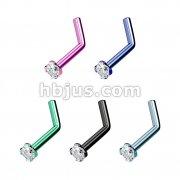 2mm CZ Prong Set Top Titanium Anodized Over 316L surgical Steel Nose L Bend Rings Bulk Pack (20 pcs x 5 Colors)