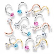 100 Pcs Prong Set Round CZ Top PVD over 316L Surgical Steel Nose Screw Rings (20 Pcs x 5 Colors)