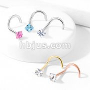 Prong Set Square CZ Top 316L Surgical Steel Nose Screw Rings