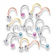 100 Pcs Prong Set Heart CZ Top PVD over 316L Surgical Steel Nose Screw Rings (20 Pcs x 5 Colors)