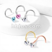 Prong Set Heart CZ Top 316L Surgical Steel Nose Screw Rings