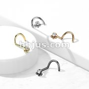 3 Beaded Ball Cluster with CZ Cente 316L Surgical Steel Nose Screw Rings