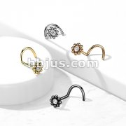 Beaded Ball Edge with CZ Center Top 316L Surgical Steel Nose Screw Rings