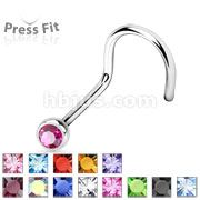 Press Fit Gem Ball 316L Surgical Steel Nose Screw Rings