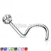 Prong Set CZ Top 316L Surgical Steel Screw Type Nose Rings