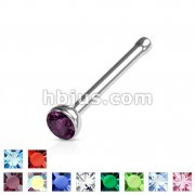316L surgical Steel Nose Stud Ring with Gem Set Half Ball Top