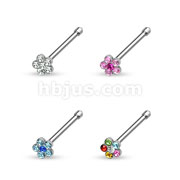 80 pcs 316L Surgical Steel Nose Stud Rings with Crystal Set Flower Top Bulk Pack (20 pcs x 4 Color)