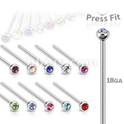 316L Surgical Steel Nose Fishtails with Press-Fit 2mm Gem Ball 200pc Pack (20pc x 10 colors)