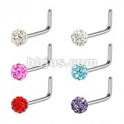 Ferido Ball 316L Surgical Steel L Bend Nose Ring (10pcs x 6colors)